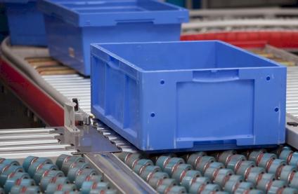 Blue box on Polyurethane Rollers