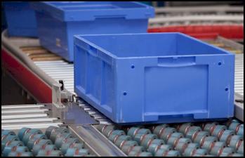 Blue Box on Polyurethane Wheels